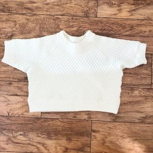 Zara Cream White Quilted Crop Top